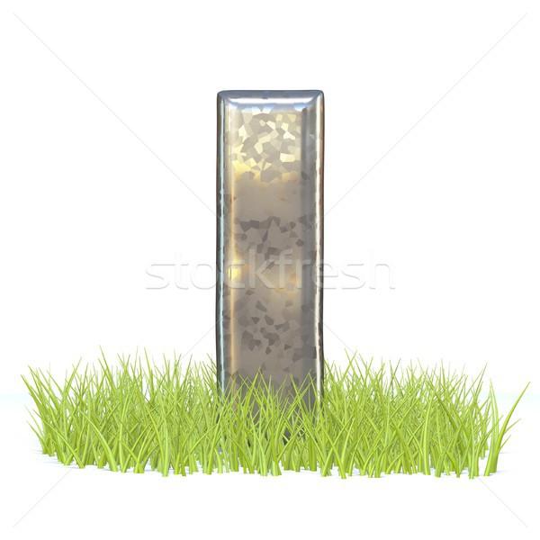 Verzinkt metaal doopvont letter i gras 3D Stockfoto © djmilic