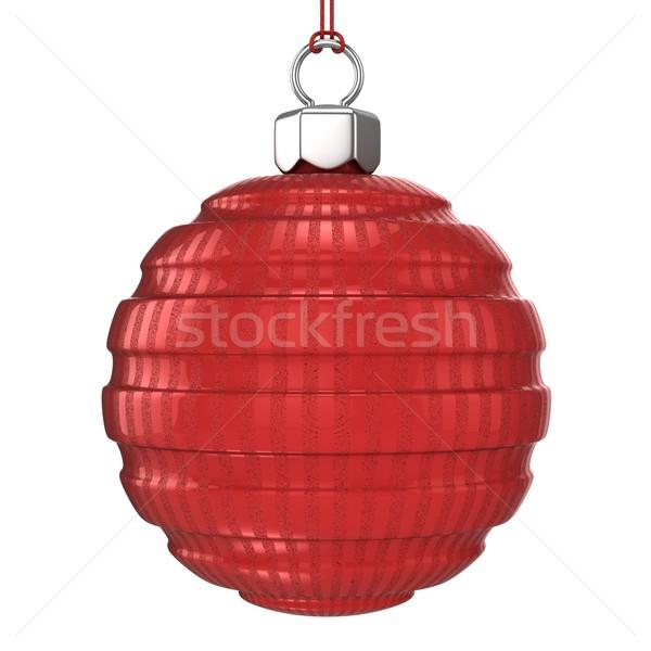 Piros csíkos mintázott karácsony labda izolált Stock fotó © djmilic