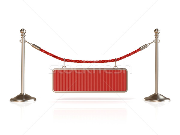 Velvet rope barrier, with BLANK sign. 3D Stock photo © djmilic