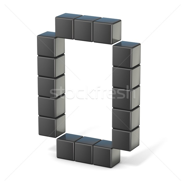 8 bit font. Capital letter O. 3D Stock photo © djmilic