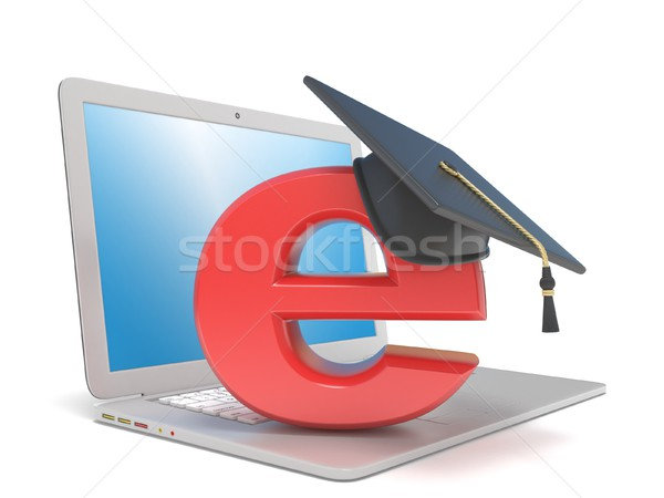 Graduation hat on E, on laptop. E-learning concept. 3D Stock photo © djmilic