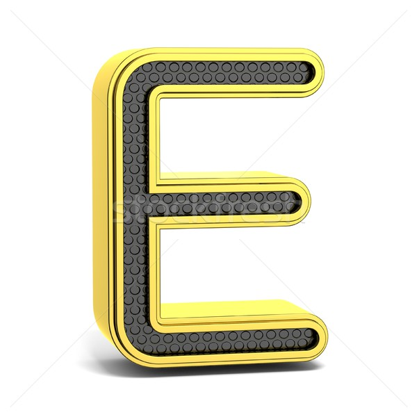 Golden and black round alphabet. Letter E. 3D Stock photo © djmilic