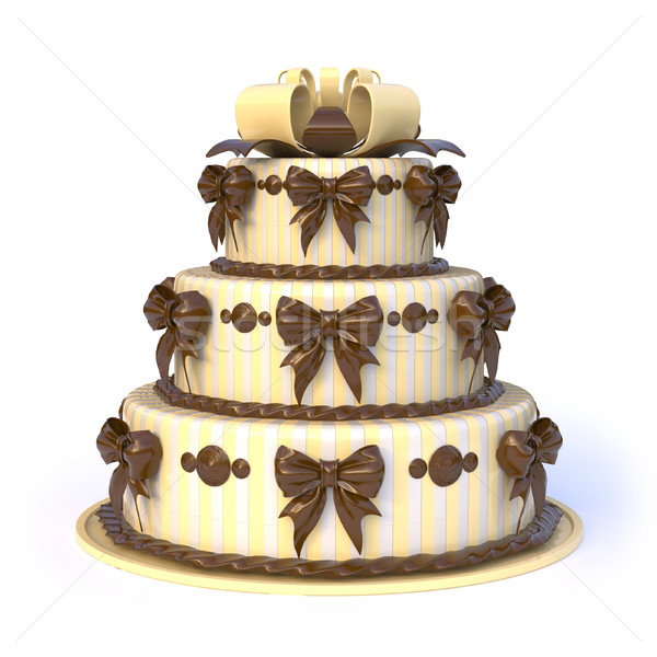 Trois jaune gâteau ruban arcs Photo stock © djmilic
