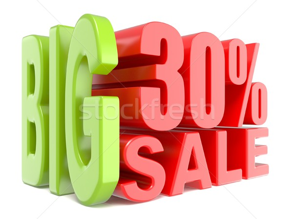Foto stock: Grande · venda · por · cento · 30 · 3D · palavras
