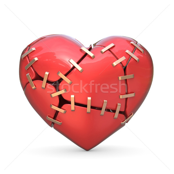 Broken red heart joined with metal staples. 3D Stock photo © djmilic