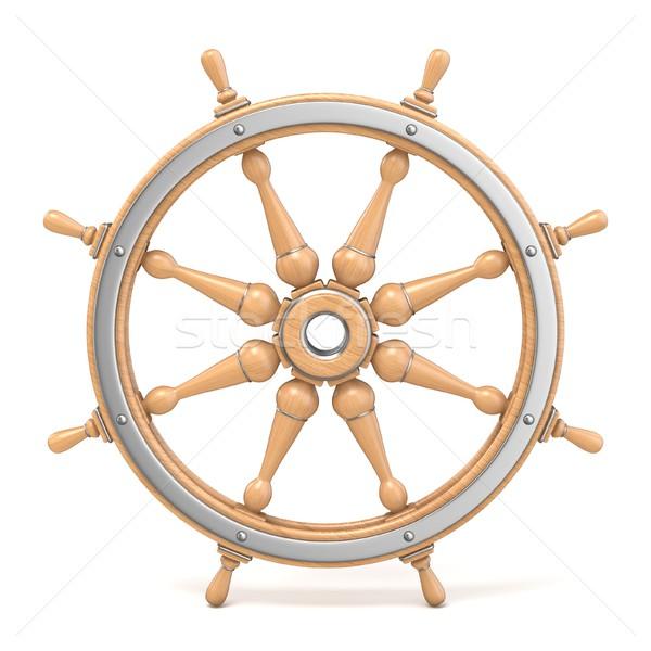 Fából készült hajó kerék 3D 3d render illusztráció Stock fotó © djmilic