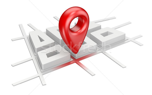 Stock photo: Red map pointer on city plane navigation concept 3D