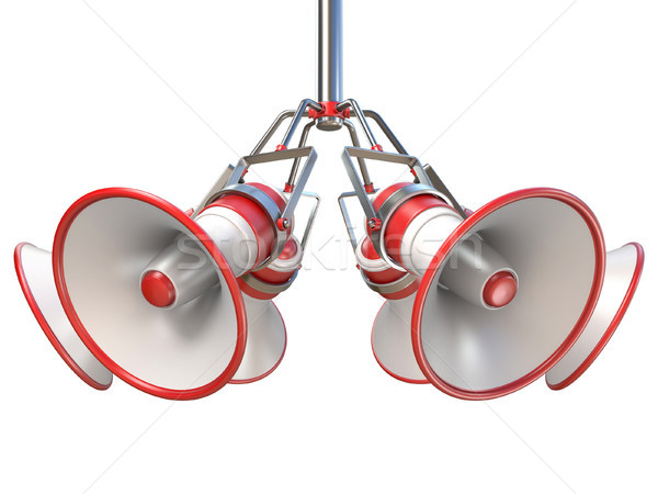 Stock photo: Red and white megaphones hanging 3D