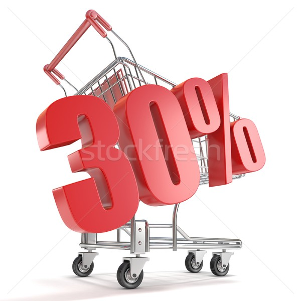 Stock fotó: 30 · harminc · százalék · árengedmény · bevásárlókocsi · vásár