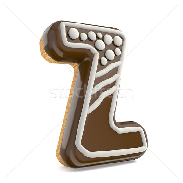 Letter Z chocolate Christmas gingerbread font decorated with whi Stock photo © djmilic