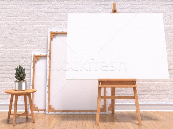 Mock up canvas frame with plant, easel, floor and wall. 3D Stock photo © djmilic