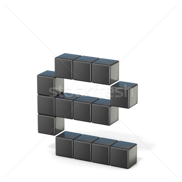 8 bit font. Lowercase letter E. 3D Stock photo © djmilic