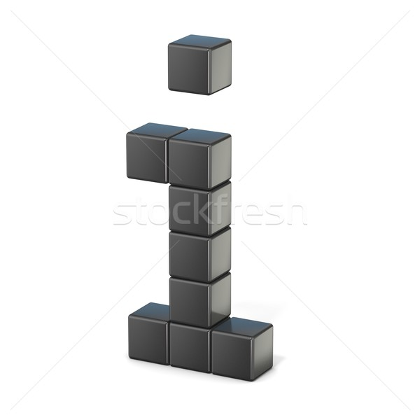 8 bit font. Lowercase letter I. 3D Stock photo © djmilic