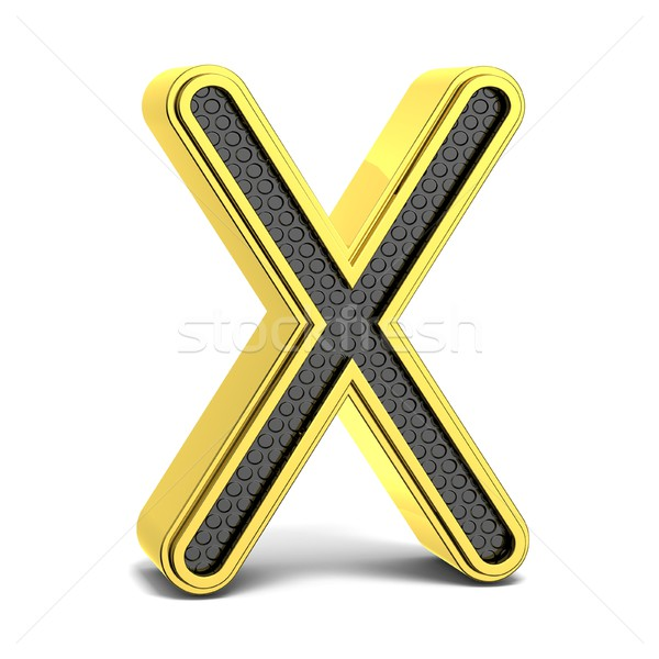 Golden and black round alphabet. Letter X. 3D Stock photo © djmilic