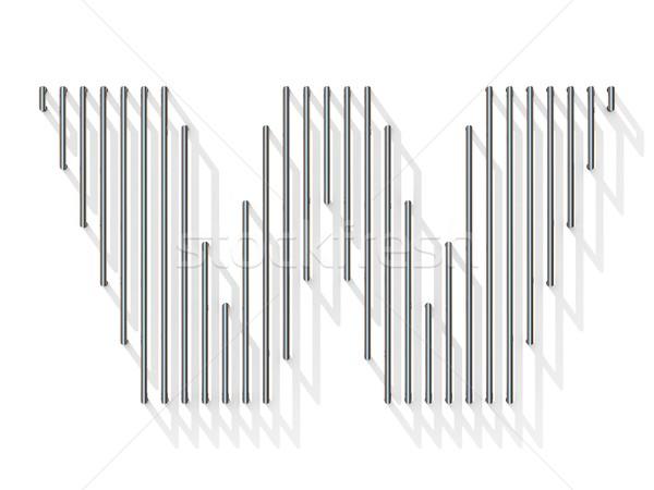 Argento acciaio filo carattere lettera w verticale Foto d'archivio © djmilic