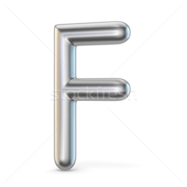 Metal alphabet symbol. Letter F 3D Stock photo © djmilic