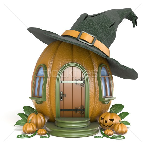 Halloween pumpkin house with witch hat 3D Stock photo © djmilic