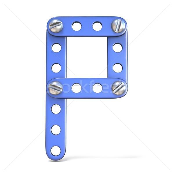 アルファベット 青 金属 おもちゃ 3D ストックフォト © djmilic
