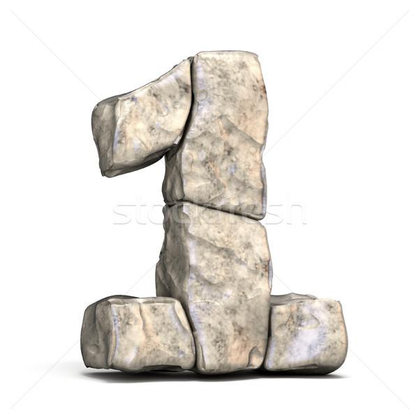 каменные шрифт числа один 3D 3d визуализации Сток-фото © djmilic
