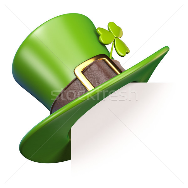 Green St. Patrick's Day hat with clover Paper corner 3D Stock photo © djmilic