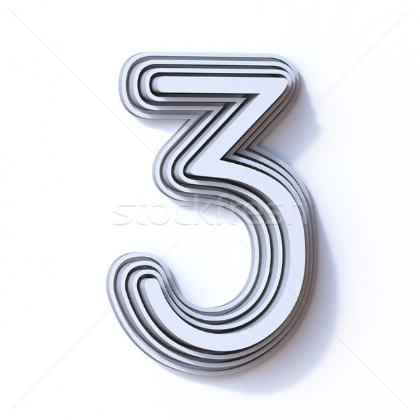 Three steps font number 3 THREE 3D Stock photo © djmilic