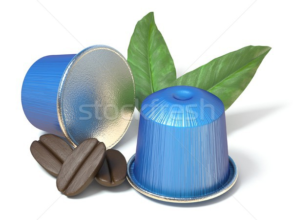 Blue coffee capsules with coffee beans and leaves 3D Stock photo © djmilic