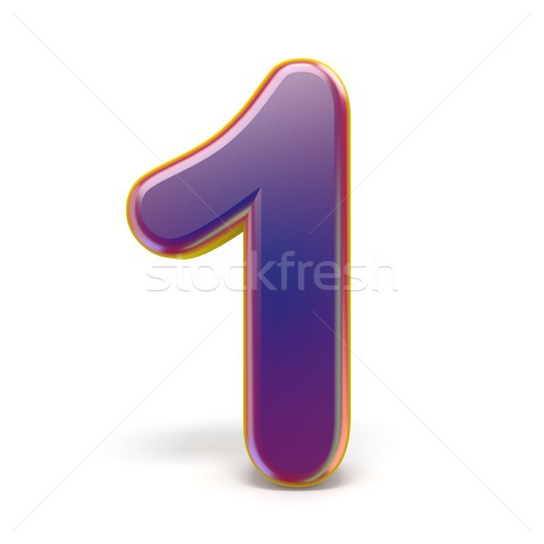 Number ONE 1 purple font yellow outlined 3D Stock photo © djmilic