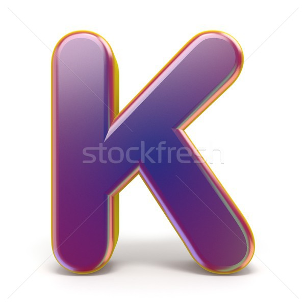 Letter K purple font yellow outlined 3D Stock photo © djmilic
