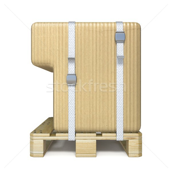 Cardboard box font Number 1 ONE on wooden pallet 3D Stock photo © djmilic