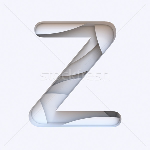 White abstract layers font Letter Z 3D Stock photo © djmilic