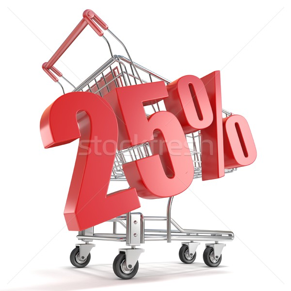 25% - twenty five percent discount in front of shopping cart. Sa Stock photo © djmilic