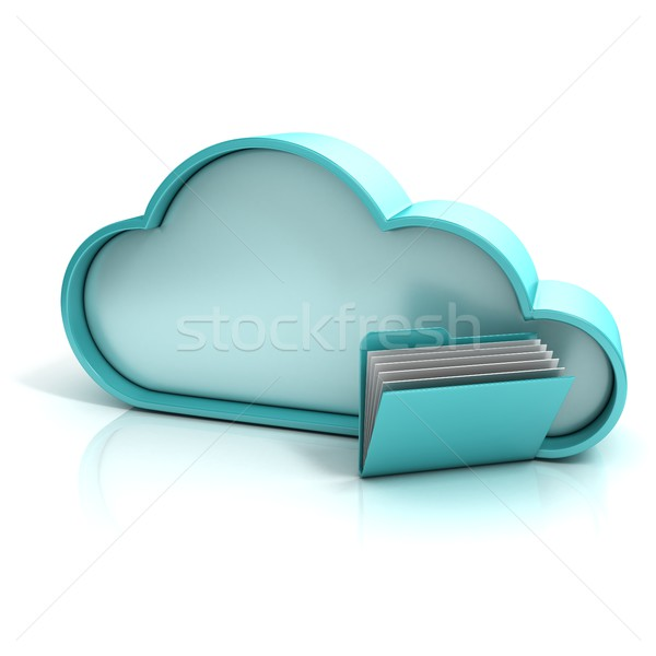 Cloud folder 3D computer icon Stock photo © djmilic