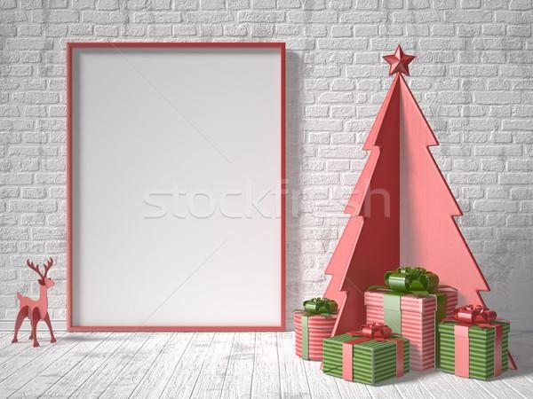 Сток-фото: вверх · фоторамка · рождественская · елка · украшение · подарки · 3D