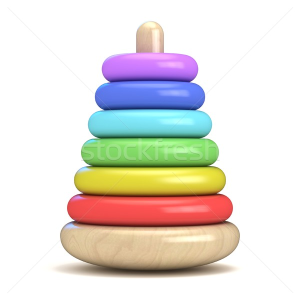 Pyramid build from colored wooden rings. Colorful wooden toy. 3D Stock photo © djmilic