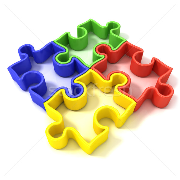 Four colorful outlined jigsaw puzzle pieces, banded Stock photo © djmilic