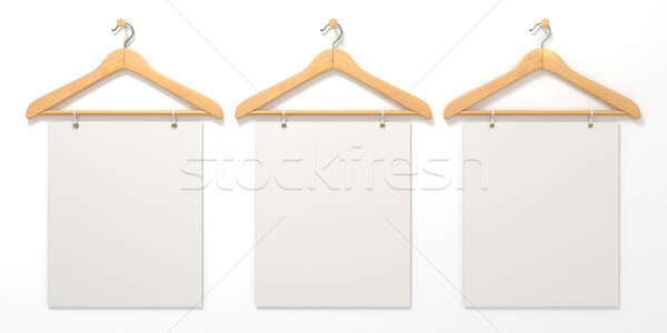 Wooden hangers with blank sign. 3D Stock photo © djmilic