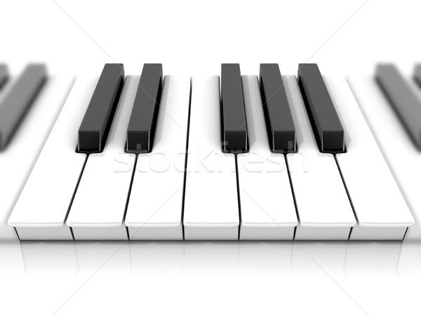 Ingesteld pianotoetsen een 3D 3d render illustratie Stockfoto © djmilic