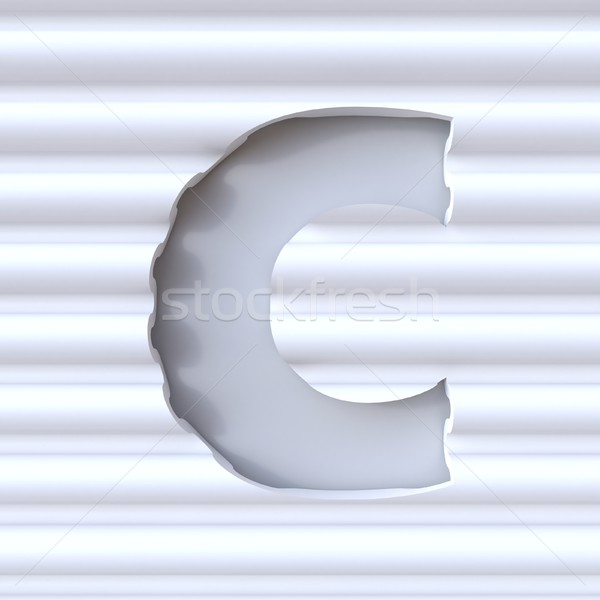 Cut out font in wave surface LETTER C 3D Stock photo © djmilic