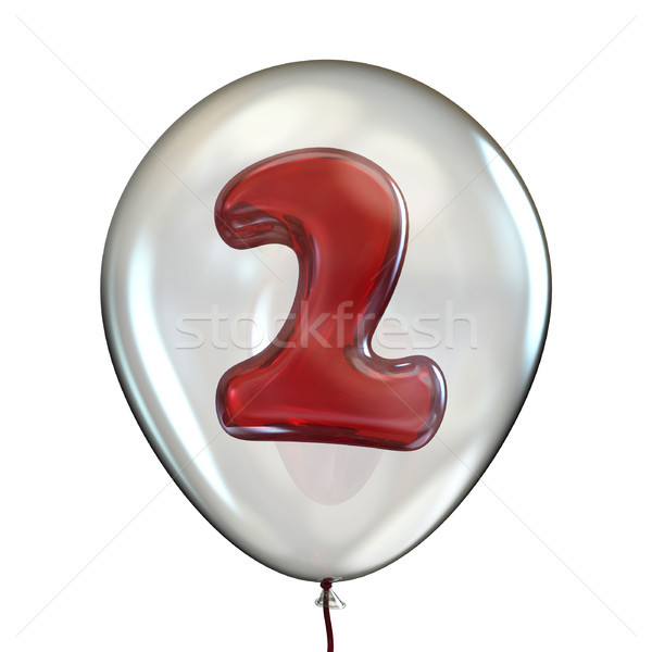 Number TWO 2 in transparent balloon 3D Stock photo © djmilic