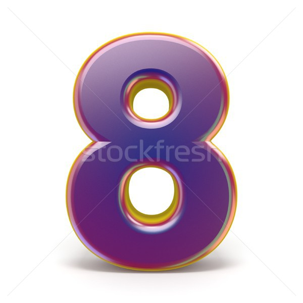 Number EIGHT 8 purple font yellow outlined 3D Stock photo © djmilic
