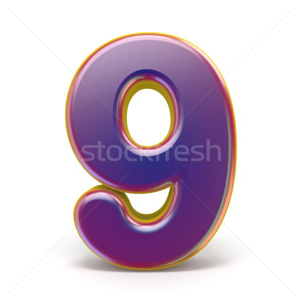 Number NINE 9 purple font yellow outlined 3D Stock photo © djmilic