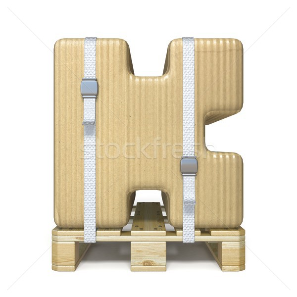Cardboard box font Letter K on wooden pallet 3D Stock photo © djmilic