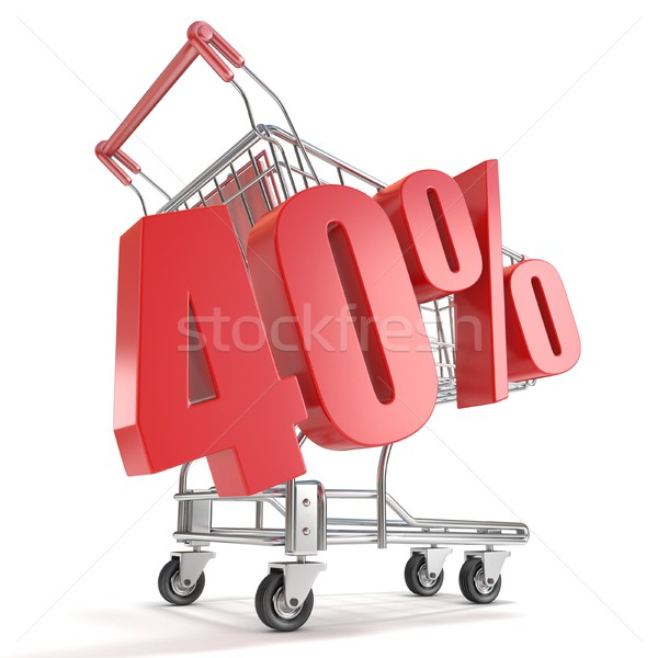 Stock photo: 40% - forty percent discount in front of shopping cart. Sale con