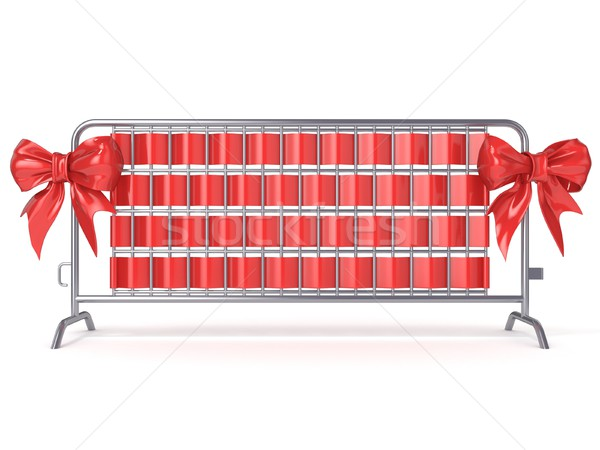 Steel barricades with red ribbon bows. Front view. 3D Stock photo © djmilic