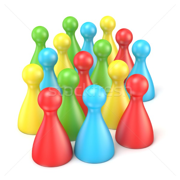 Colorful playing figures in crowd. 3D Stock photo © djmilic