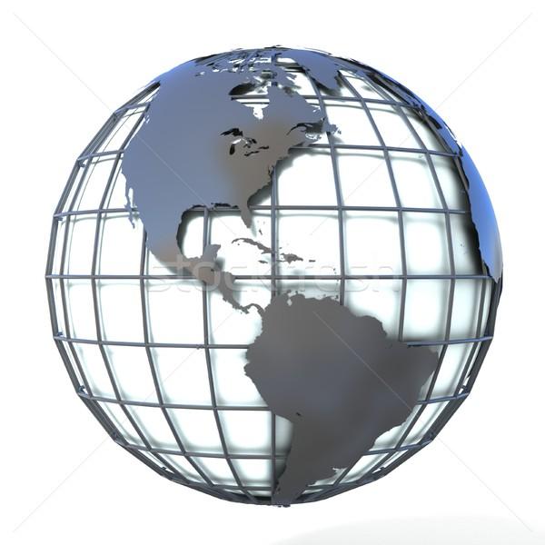 Polygonal style illustration of earth globe, America view Stock photo © djmilic
