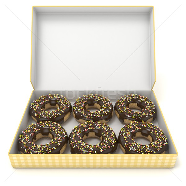 Box of chocolate donuts. Front view. 3D Stock photo © djmilic