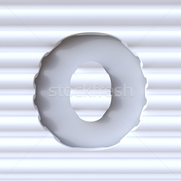 Cut out font in wave surface LETTER O 3D Stock photo © djmilic