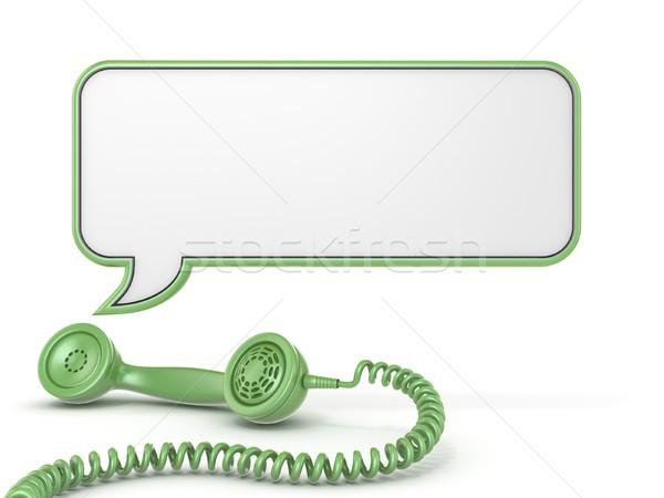 Green telephone handset and speech bubble 3D Stock photo © djmilic
