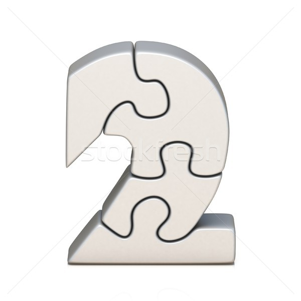 White puzzle jigsaw number TWO 2 3D Stock photo © djmilic